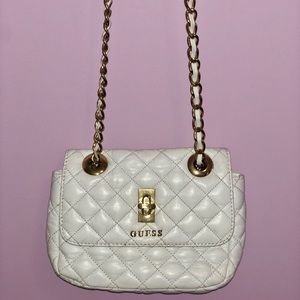 Guess White and Gold Crossbody Bag